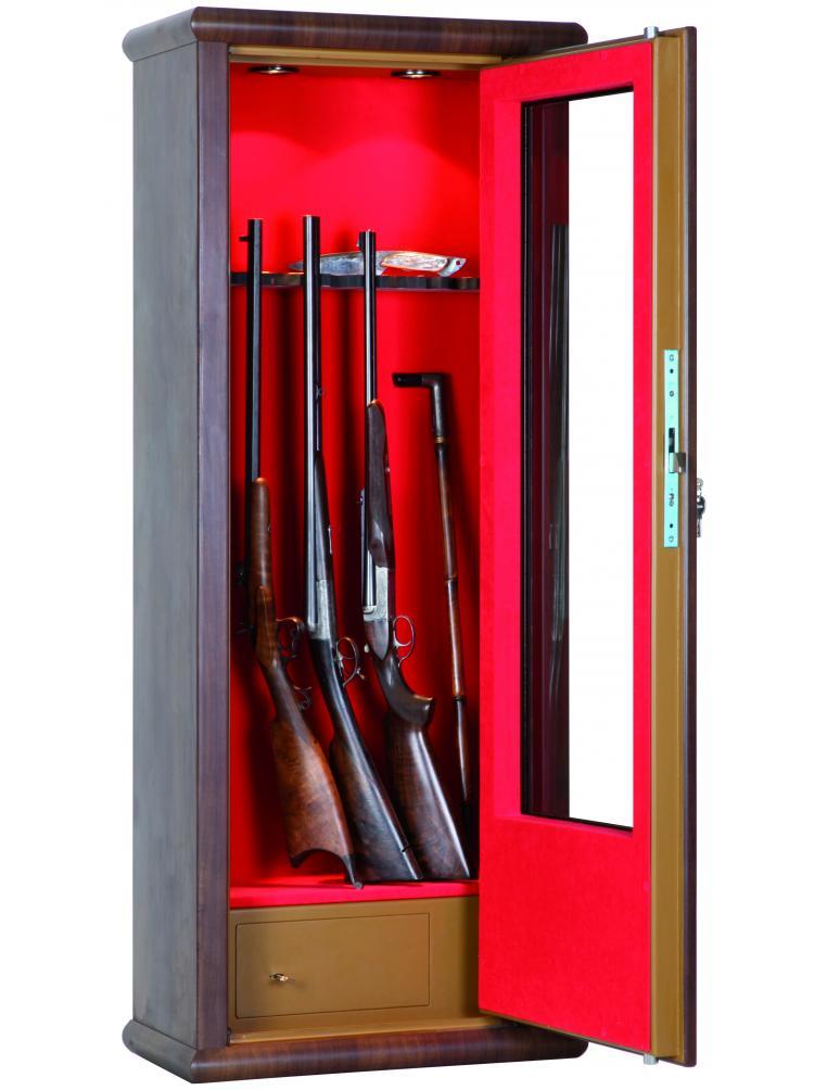Vitrine couleur bois aspect noyer 10 armes avec lunette + coffre intérieur + éclairage intérieur LV62