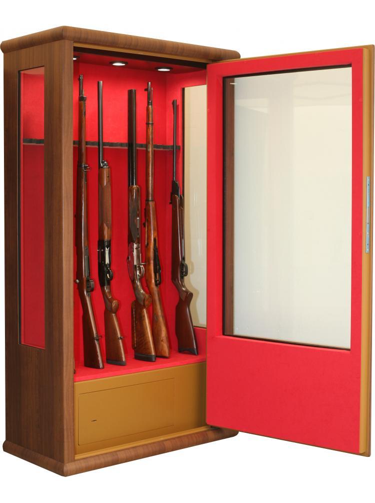 Vitrine couleur bois aspect noyer 14 armes avec lunette + coffre intérieur + éclairage intérieur LV90