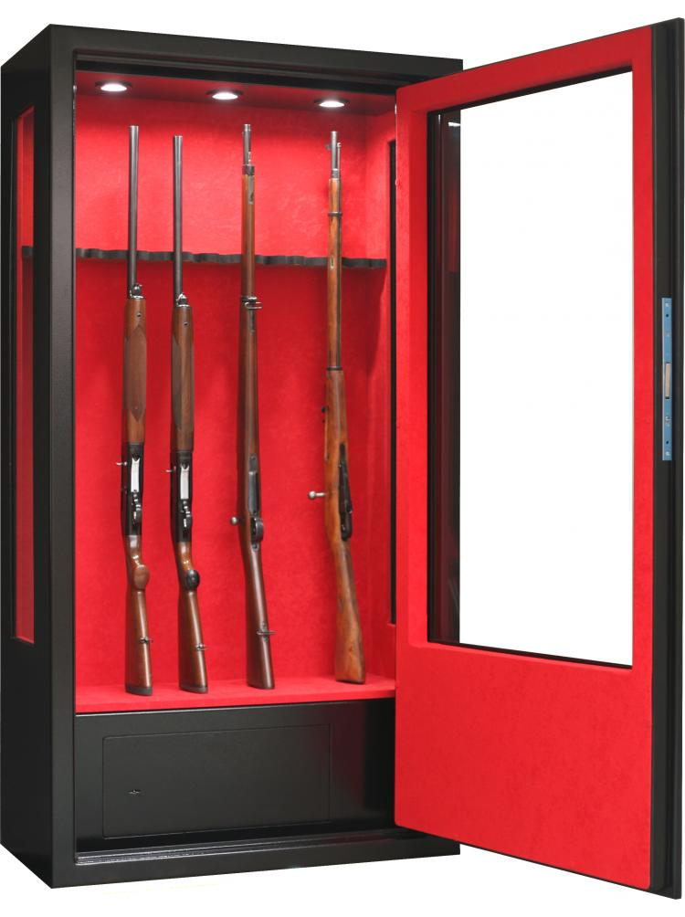 Vitrine noire avec côtés vitrés 14 armes avec lunette + coffre intérieur + éclairage intérieur V90
