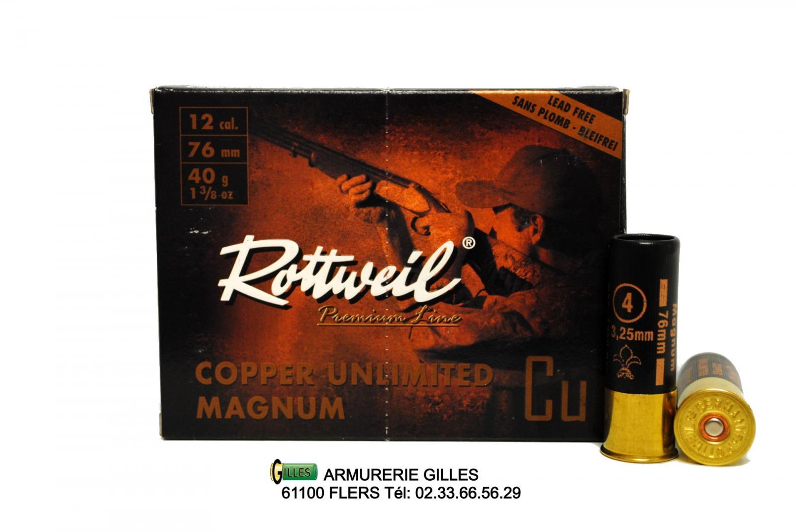 Boite de 10 cartouches ROTTWEIL Cooper Cuivrées 40grs Cal 12/76 RCUM4