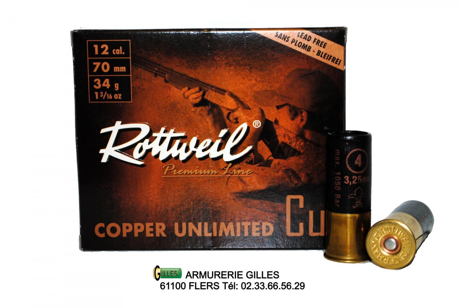 Boite de 10 cartouches ROTTWEIL Cooper Cuivrées 34grs 12/70 R23192