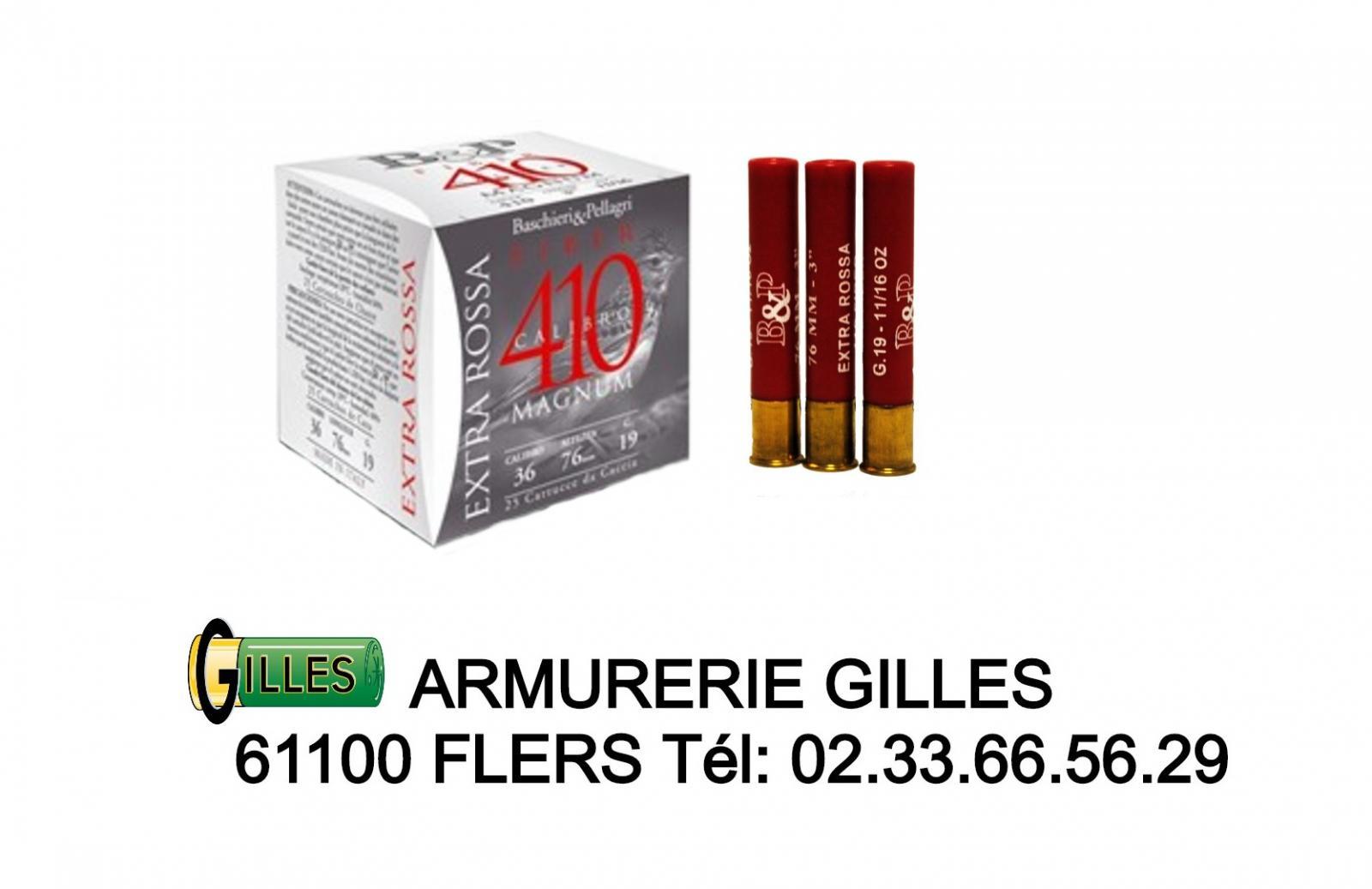 Boite de 25 cartouches B&P bourre grasse Cal 410 Magnum BP410
