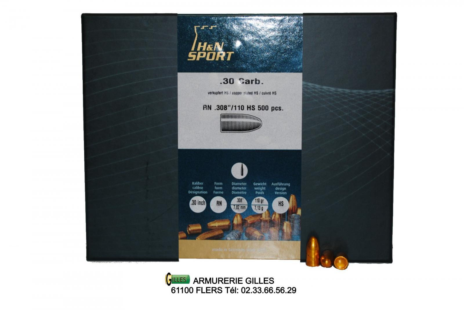 Boite de 500 ogives H&N cal. 30 (.308) 110gr cuivrée RN HN30M1