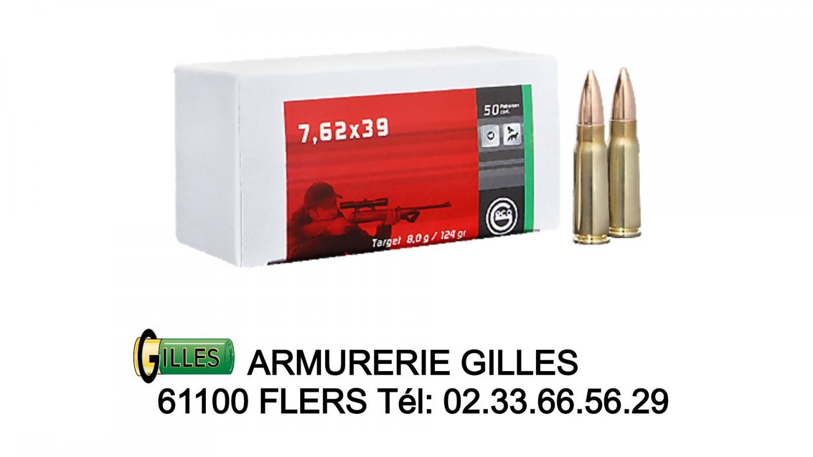 Cartouches GECO Cal. 7,62x39 FMJ 124grs Boite de 50