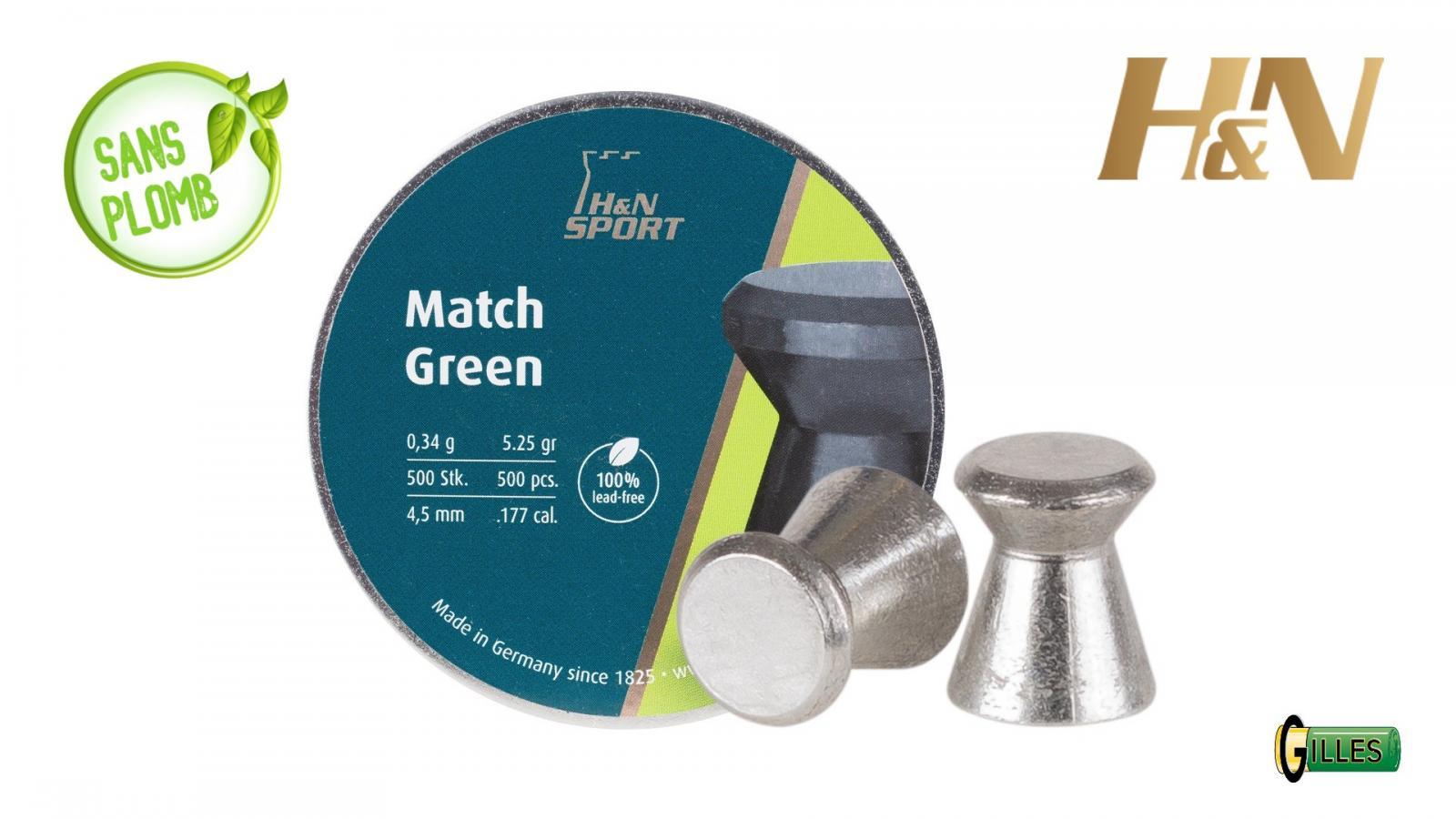 Boite de 500 plombs 4.5 H&N Match Green SANS PLOMB