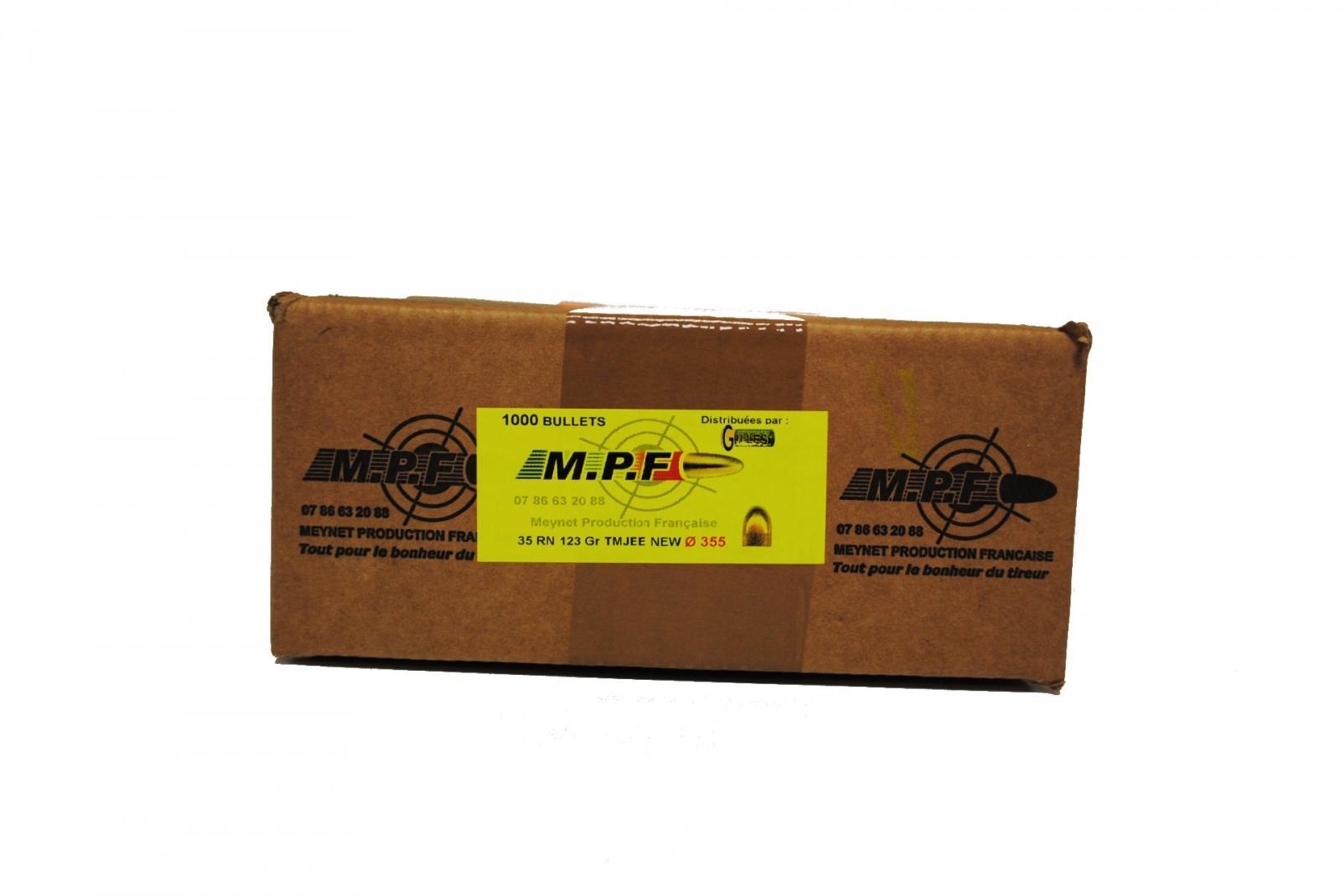 ogives 9MM ( .355) RN 123 grs cuivrées TMJ par 1000 MPF9TMJV