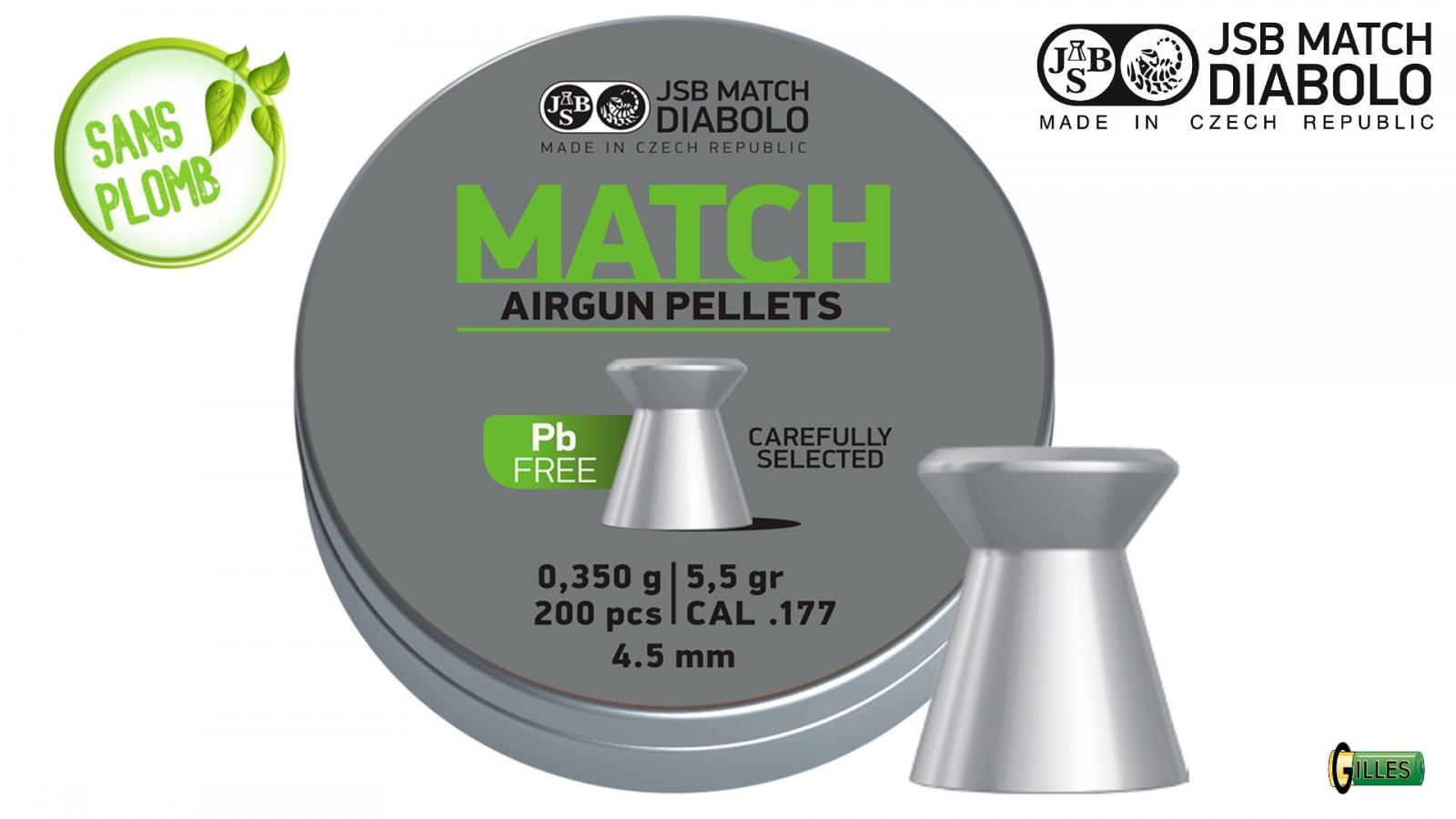 Boite 200 DiABOLO JSB 4.5 MATCH sans plomb 0.350 g 4.5 mm