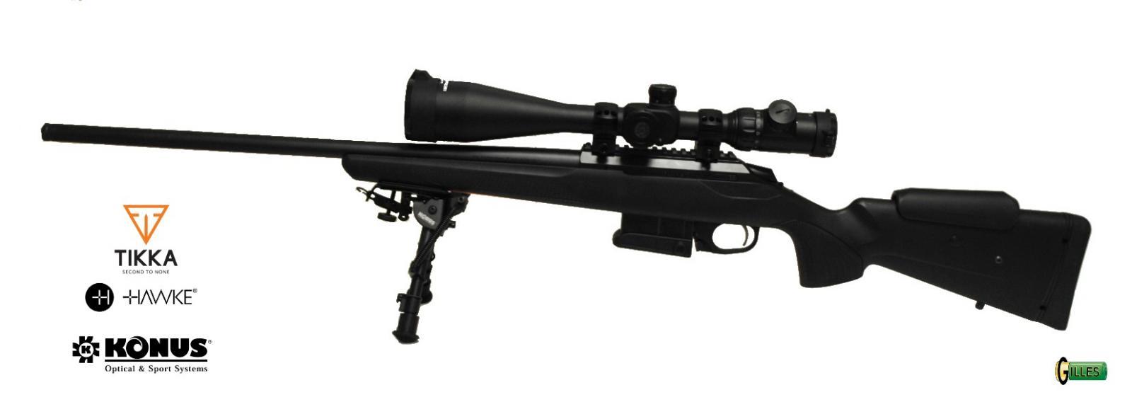 Pack Carabine TIKKA T3X COMPACT TACTICAL RIFLE + Lunette KONUS 8-32x56 + Bipied